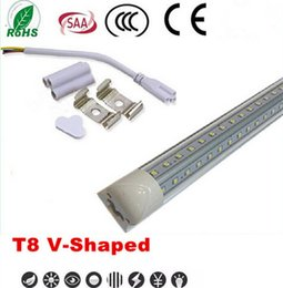 Wholesale cree 65w - T8 V-Shaped Led Tube Lights 4FT 28W 5FT 34W 6FT 42W 8FT 65W 2.4m Integrated Cooler Door Led Fluorescent Tube Light Double Glow Lighting