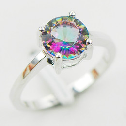 Wholesale Topaz Silver Rings Wholesale - Concave Cut Rainbow Mystic Topaz 925 Sterling Silver Wedding Party Attractive Design Ring Size 5 6 7 8 9 10 11 12 A28 Free Ship