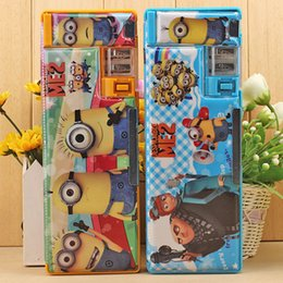 Wholesale Despicable Cases - New Despicable ME Cartoon Pencil case Pen box Cartoon Double sided magnet multifunctional pencil case.L0342C