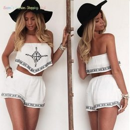 Wholesale Sexy Backless Outfit - 2016 Fashion Macacao Feminino Women Jumpsuit Summer Crop Tops Shorts Lady 2pcs Outfit Sexy Summer Backless Romper Clubwear 38