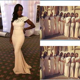 Wholesale Traditional Long Sleeves Wedding Gowns - African Traditional 2017 Jewel Neck Lace Chiffon Mermaid Bridesmaid Dresses Short Sleeves Maid Of Honor Dresses For Wedding Plus Size Gowns