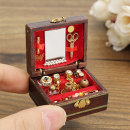 Wholesale Dollhouse Bedroom - Wholesale- Hot Sale 1:12 Scale Cute Dollhouse Miniature Filled Wooden Jewelry Box Bedroom Toys Doll toys Kids Toys Gifts