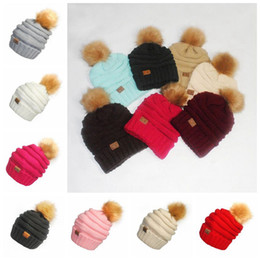Wholesale Pom Pompom - CC Pom Pom Skullies Beanies Women Winter Cap Faux Fur Pompom Beanie Knitted Hats 17 Colors OOA3385