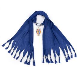 Wholesale Elegant Winter Scarf Woman - New Autumn And Winter Elegant Fashion Scarves Ladies Girls Owl Pendant Necklace Jewelry Women Muffler Tassels Scarf Shawl