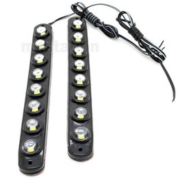 Wholesale Led Daytime Running Lamps - One Pair 8 LED Universal Aluminium 8LED 16W Car Daytime Running Light DRL Fog Warning Bumper Decorative eagle eyes Lamp