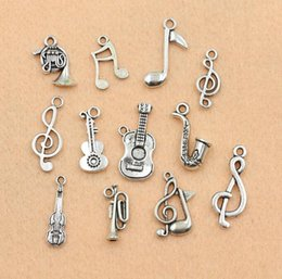 Wholesale Musical Note Wholesale Jewelry Charms - Fashion Jewelry Charms Mixed Tibetan Silver Musical Note Trumpet Instrument Charms Pendants For Jewelry Making Diy Handmade Craft 120pcs