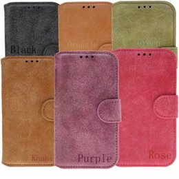 Wholesale Retro Card Package - Retro Nubuck PU Leather Card Holder Flip Stand Case Cover for iPhone 4 4s 5 5s 6 6s Plus No Package