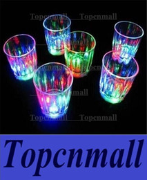 Wholesale Wholesale Plastics Cups Party - Colorful Led Cup Flashing Shot Glass Led Plastic Luminous Cup Neon Cup Birthday Party Night Bar Wedding Beverage Wine flash small cup