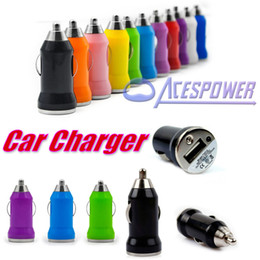 Wholesale Mini Galaxy Mobile - Car Chargers Bullet Mini USB For Samsung Galaxy S8 Plus S6 IPod Iphone 7 Plus Ipad Cell Mobile Phone Charger Adapte