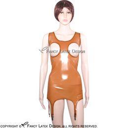 Deutschland Transaprent Brown Sexy Latex Top Shirt mit Strumpfhaltern Breast Open Rubber Unterhemden Kleidung Kleidung YF-0023 Versorgung