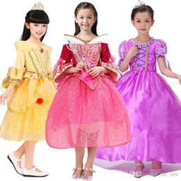 Wholesale Cosplay Costumes For Girls - Girls princess costume cosplay dress purple yellow pink flare sleeve dress for Christmas party birthday kids