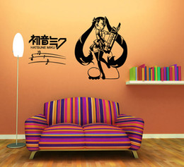 Wholesale Musical Notes Wall Stickers - Anime Cartoon Musical Note Hatsune Miku Playing Music Singing Music Sketch Cool Propile Wall Sticker Decal Home Decor For Anime Fans