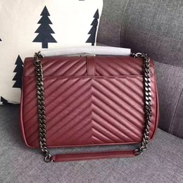 Wholesale Grey Chevron Bag - luxury 2017 new y goat grain genuine leather with sl top quality crossbody first layer Diamond chevron Brand Messenge Crossbody bag 32cm
