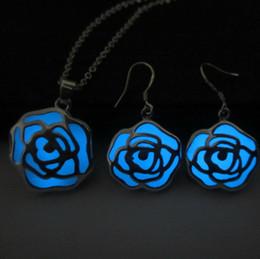 Wholesale Dark Green Jewelry Sets - 925 silver plated jewelry set hollow Flower Pendant blue Green Glowing Dark Luminous necklace+Ear Hook Earrings Jewelry Set