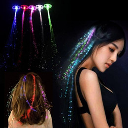 Wholesale Led Wigs - Colorful LED Wigs Glowing Flash LED Hair Braid Clip Hairpin Decoration Ligth Up Show New Year Party supplies Christmas