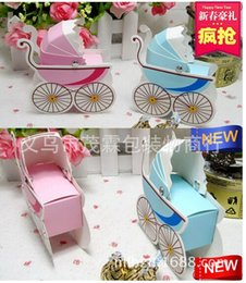 Wholesale Carriage Wedding Favours - Wholesale- 50pcs cute baby shower Baby carriage Wedding favor paper box favour gift candy storage boxes pink blue color