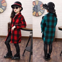 Wholesale Wool Childrens Clothes - Childrens Winter Warm Plaid Clothes Girls Wool Jacket Coats Child Outerwear Coat Wool Jackets Kids Girl Plaid Coats