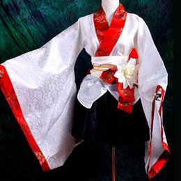 Wholesale Traditional Japanese Women Dress - unisex japanese kimono cosplay costumes white japanese traditional dress party lolita kimono plus size custom wholesale
