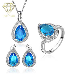 Wholesale Extravagant Earrings - Jewellery Stores Hot Sale Elegant Extravagant Party Platinum Plated Jewelry Set Big Blue Crystal Pendant Necklace+Earrings+Ring for Ladies