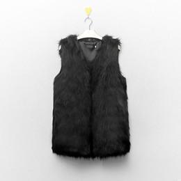 Wholesale Brown Fur Vest Women Sleeveless - Wholesale-Fashion Women Winter Coat Faux Fake Fur Vests Sleeveless Fur Outerwear Slim V-Neck Warm Vest Jacket Coat Plus Size S-XXXL