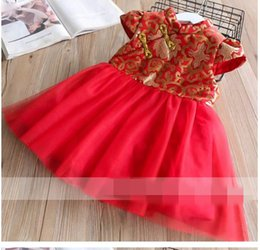 Wholesale Embroidered Cheongsam Dress - New Year Girls Dress Embroidered Splice gauze Thicken Cheongsam Dress Children Clothing 3-8T 319721