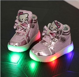 Wholesale Child Cartoon Boot - 2016 Kids Led Lighted Shoes Baby Boys Girls Cartoon KT Cat Luminous Shoes Children Casual Leather Soft Boots Child Colorful Glowing Shoes