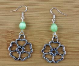 Wholesale Tibetan Silver Drop Beads - Hollow Flower &Opal Bead Charms Drop Dangle Earrings 925 Silver Fish Ear Hook 50pairs Tibetan Silver Chandelier Earrings Jewelry Gift N1679