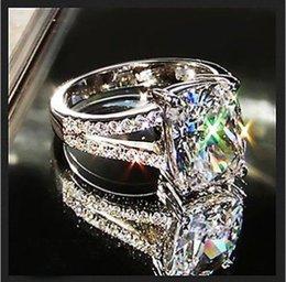 Wholesale 2ct Diamond Band - Fashion jewelry Luxury Eternal 2ct Topaz CZ 10KT Gold Filled GF Simulated Diamond Wedding Engagement Band Ring For Women Sz 5-11