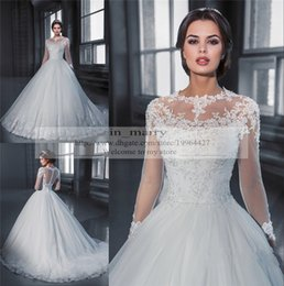 Wholesale Bow Dress Victorian - Victorian Long Sleeves Vintage Lace Wedding Dresses 2017 A Line High Neck Muslim Arabic Islamic Wedding Gown Bridal Dresses See Through Back