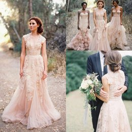 Wholesale white lace puffy sleeves dress - 2018 V Neck Lace Wedding Dresses Puffy Bridal Gowns Vintage Country Garden Wedding Dresses Champagne A-line Wedding Gowns