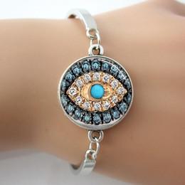 Wholesale Evil Eye Gold Bracelet Plated - Evil Eye Bangle,Glass Dome Silver Plated Metal Jeweled Bracelet,Good Luck Talisman Art Pendant Bangle Jewelry A007