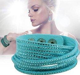 Wholesale Womens Leather Beaded Bracelets - Fashion Womens Multilayer Wrap Slake Bracelet Shiny Rhinestone Studded Wristband Leather Bracelets Adjustable Party Fine Jewelry Valentine G