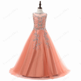 Wholesale Beauty Pageant Dresses Ball Gown - Beauty Flower Girls Dresses For Weddings Party Sheer Jewel Neck Sequin Beaded Draped Tulle Coral Little Kids Pageant Gowns Custom Size