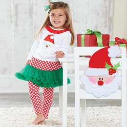 Wholesale Girls Santa Claus Clothing - clothe for girls Spring and Autumn season New pattern woman Child Santa Claus long sleeve A Gauze skirt pendulum circle point pantskirt Suit