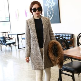 Wholesale Spring Trench Coats For Women - Women's trench coat 2015 fashion spring and winter long wool blends coats casacos femininos vintage striped clothes for womens 2015