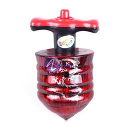 Wholesale Spinning Tops Laser - Wholesale-OP-[Save Top] Single Laser LED Music Gyro Colorful Light Plastic Peg-Top Spinning Classic Toy