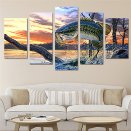 Wholesale Framed Fish Pictures - 5 Panels Jumping fish landscape Modern Abstract Canvas Oil Painting Print Wall Art Decor for Living Room Home Decoration Framed Unframed01