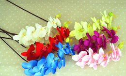 Wholesale Orchids Artificial Flower - Fashion Hot Artificial Silk Butterfly Orchid Flowers Stem Wedding Party Home Tabletop Desk