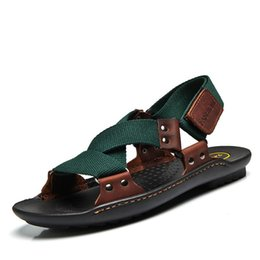 Wholesale Wholesale Designer Sandals - Wholesale- summer Sandals Men 2016 Fashion Designers Sandalias hombre Beach Shoes Men's Sandals brand leather Sandals for Men zapatos