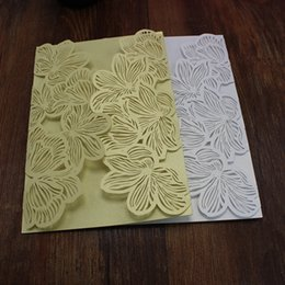 Wholesale White Greeting Cards - Petals shaped valentine's invitation cards rustic paper greeting cards laser cutting white and golden color free shipping.