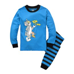 Wholesale Christmas Sleepwear For Boys - Boys Pajamas Tom Jerry Longe Sleeve T-shirt Cartoon Clothes 2 Set Autumn Winter 2 Pieces Sleepwear Cute Baby Home Clothing For Chrildren