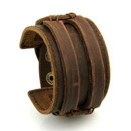 Wholesale Wide Leather Bracelet Cuff - Free Fast Shipping Leather Cuff Double Wide Bracelet and Rope Bangles Brown for Men Fashion Man Braclets Unisex Jewelry