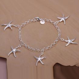 Wholesale Girls Jewlery - Lady girl vogue Jewlery 925 sterling silver plating Charm pendant starfish bracelets Shrimp buckle bracelet 10pcs lot H193
