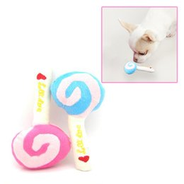 Wholesale Dogs Wool - R1B1 Pet Dog Puppy Animal Squeaky Squeaker Sound Toy Chews Cotton Wool Lollipop Free Shipping