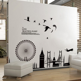 Wholesale City Decorations - Removable Wall Sticker City Silhouette Buildings Art Decals Mural DIY Wallpaper for Room Decal 60 * 90cm Home Decor Decoration