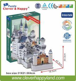 Wholesale Neuschwanstein 3d - Wholesale-new clever&happy land 3d puzzle model Neuschwanstein Castle adult puzzle jigsaw puzzle diy paper girlfriend gifts for boy