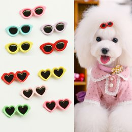 Wholesale Dog Hair Bows Clips - Cute Sunglass Shape Dog Puppy Hair Clips Kitten Hair Bows Pet Cat Hairpin Grooming Accessories