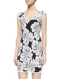 Wholesale Short Leave Dress - Novelty Leaves Print Women Sheath Dress Cap-Sleeves Casual Dresses 15091214E