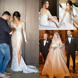 Wholesale two piece detachable wedding dresses - 2017 Full Lace Mermaid Wedding Dresses Two Piece Long Sleeves Formal Bridal Dress With Detachable Train Side Split Wedding Party Gowns Cheap