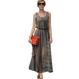 Wholesale Tank Maxi Dress Xl - New 2016 Summer Polka Dot Chiffon Maxi Dresses For Women Fashion Plus Size Dot Print Sleeveless Long Tank Dress Sundress S- XXXL
